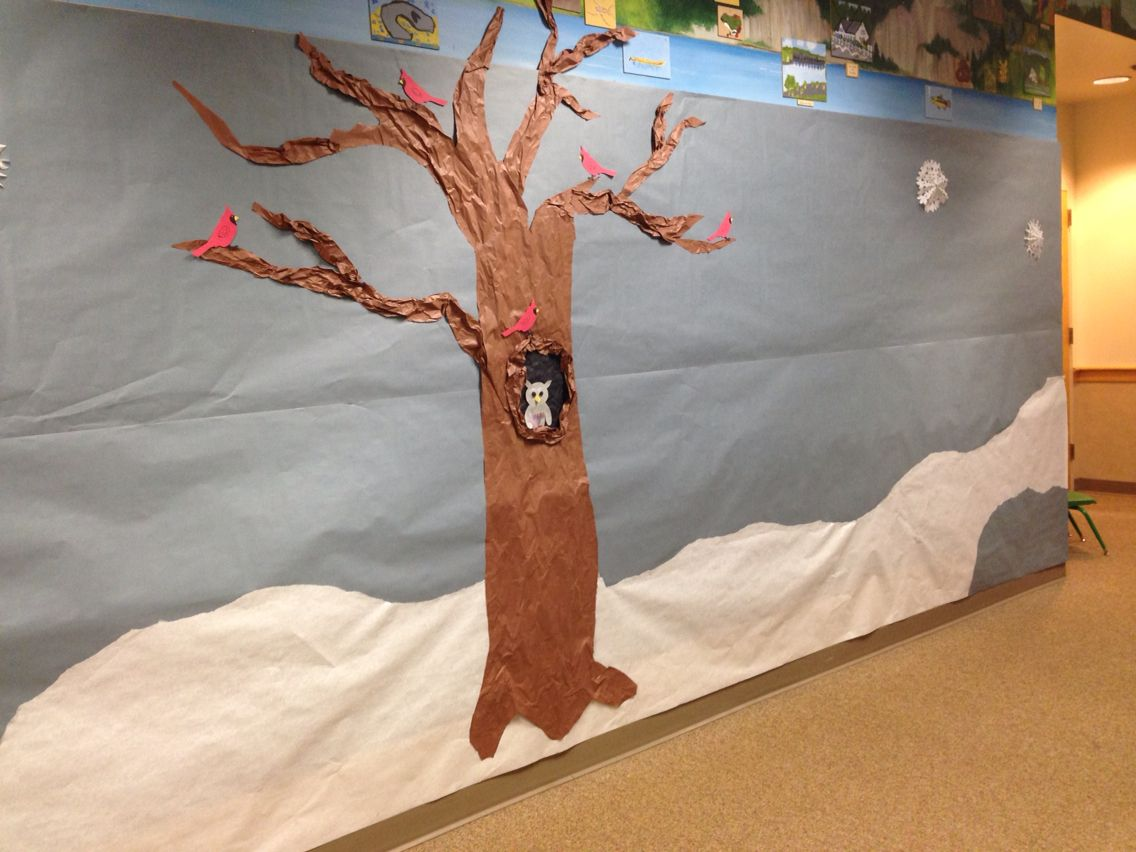Winter bulletin board. Bare tree in snow with cardinals