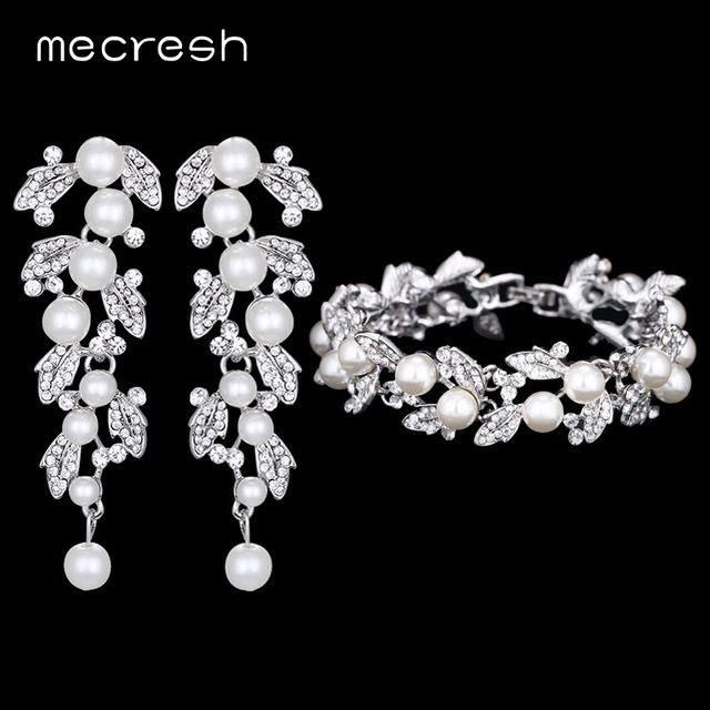 Simulated Pearl Bridal Jewelry Sets Clear Crystal Leaves