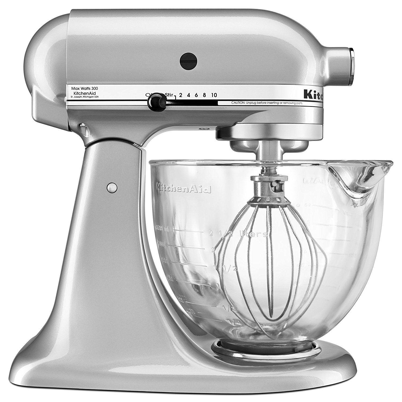 kitchenaid ksm105gbcmc 5-qt. tilt-head stand mixer with glass bowl
