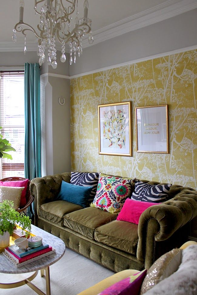 Colourful Eclectic Living Room With Olive Green Velvet Sofa