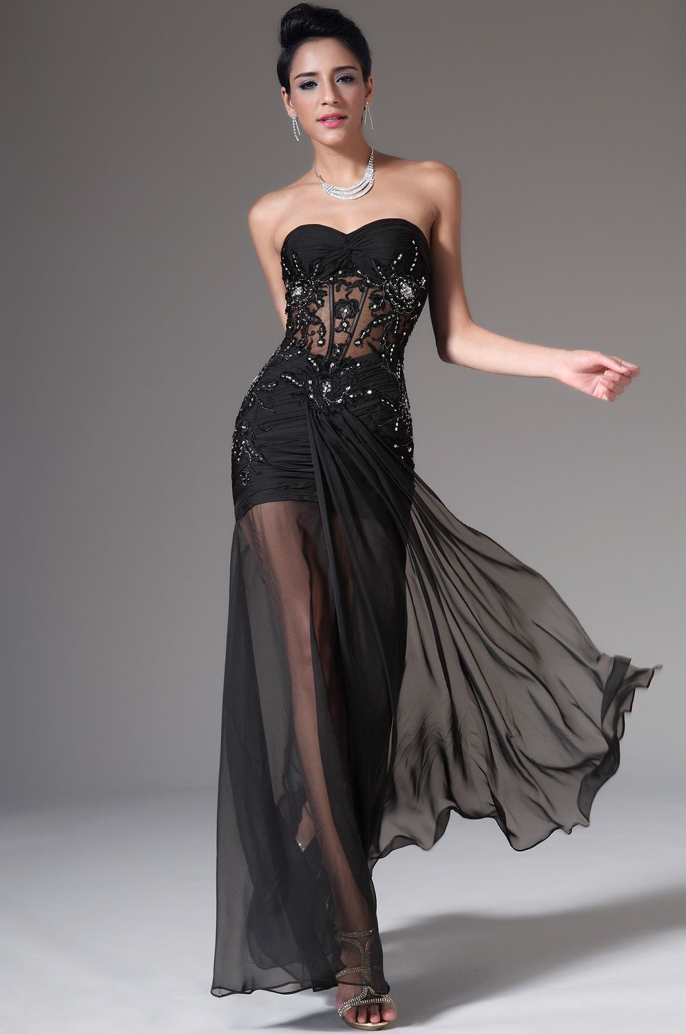Strapless Sweetheart Black Evening Dress (00140900) | evening gowns ...