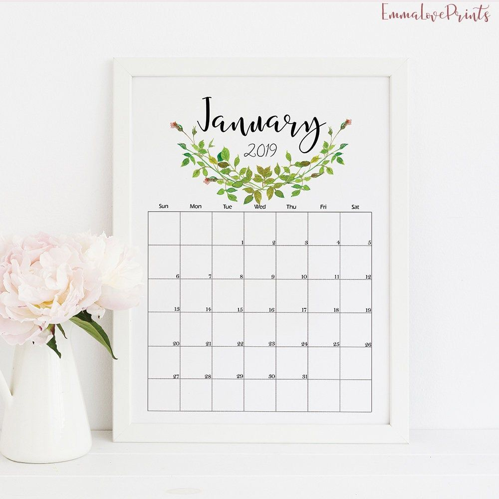 Wall Calendar 2019 Calendar Printable Botanical Calendar Monthly