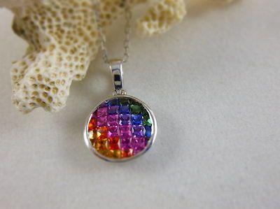 "Multi Colors of Topaz Pendant Sterling Silver .925 18"" Chain"