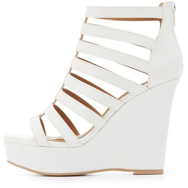 dc3bd0b8b68 Charlotte Russe Caged Platform Wedge Sandals ( 25) ❤ liked on Polyvore  featuring shoes