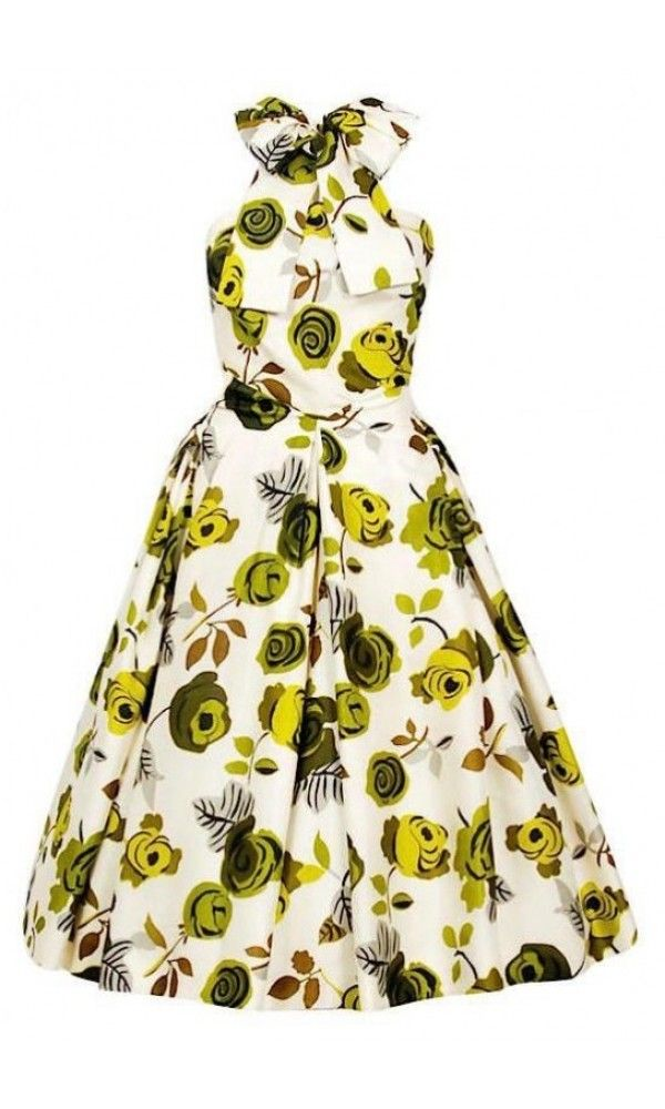 b288fcf3f4a400 1950's Suzy Perette Chartreuse Roses Floral-Print Silk Backless Halter-Bow  Dress, Los