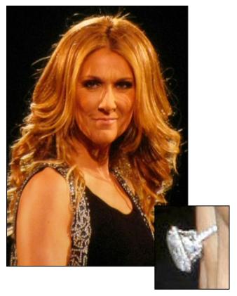 Celine Dion\'s 4.5 carat Asscher cut diamond engagement ring | Celeb ...