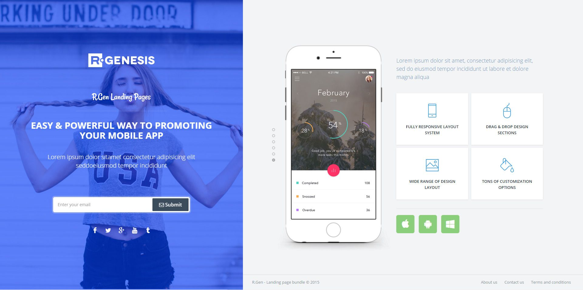 RGen HTML Landing Pages with Builder Landing page