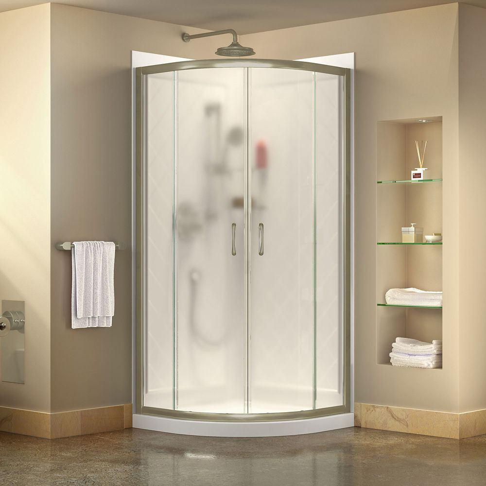Prime 38 Inch X 76 3 4 Inch Shower Enclosure In Brushed Nickel