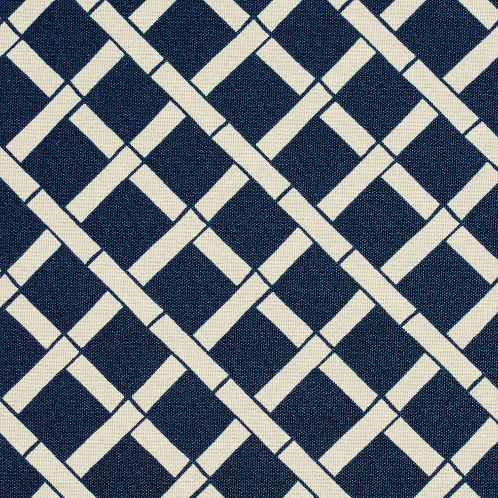 Indigo Blue and White Bamboo Print Upholstery Fabric | Upholstery ...
