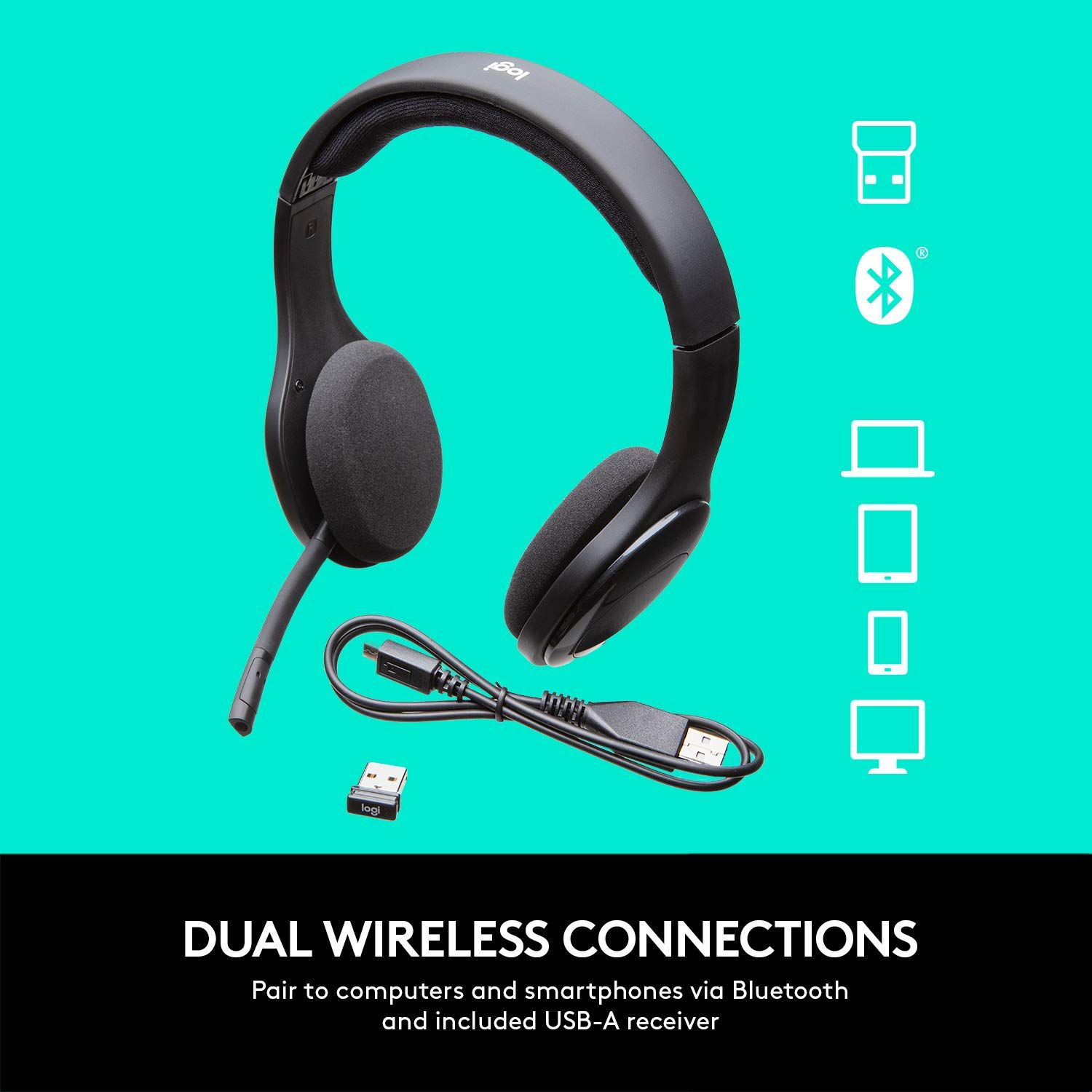 Logitech H800 Bluetooth Wireless Headset With Mic For Pc Tablets And Smartphones Bluetooth Wireless Logitech Headset Wireless Headset Headset Logitech