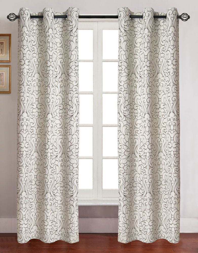 Pair Of Georgia Ivory Jacquard Window Curtain Panels W Grommets