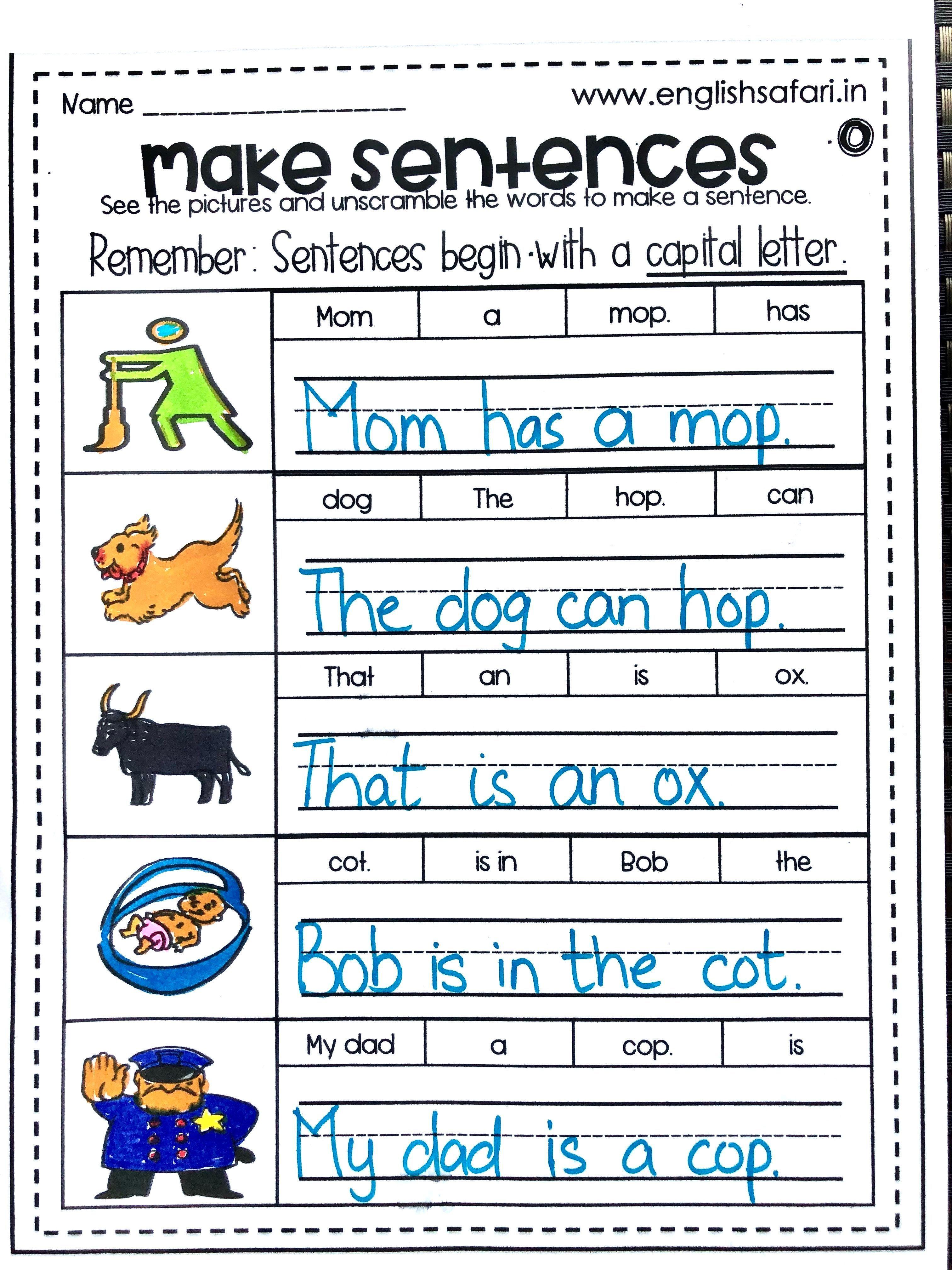 Make Sentences Worksheets Free Englishsafari In