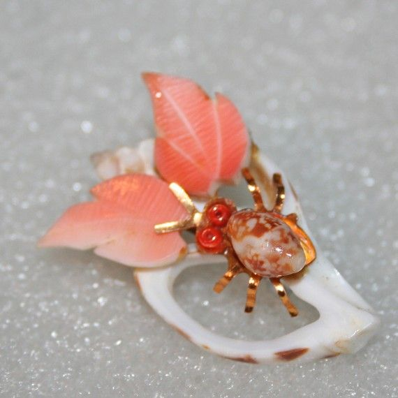 Cutie Bug Vintage Seashell Brooch by ThreeChicksVIntage on Etsy, $12.00