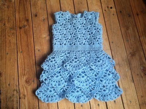 937fe236e96 Tuto crochet   Robe a volant bébé au crochet toutes les tailles   Vestido  bebe crochet - YouTube