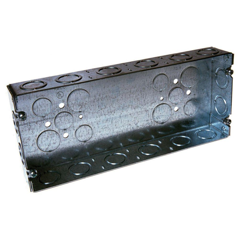 4 Gang Box 1 5 8 In Deep With 1 2 3 4 In Concentric Ko S 5 Pack 953 Metal Electrical Box Wall Boxes Galvanized Steel