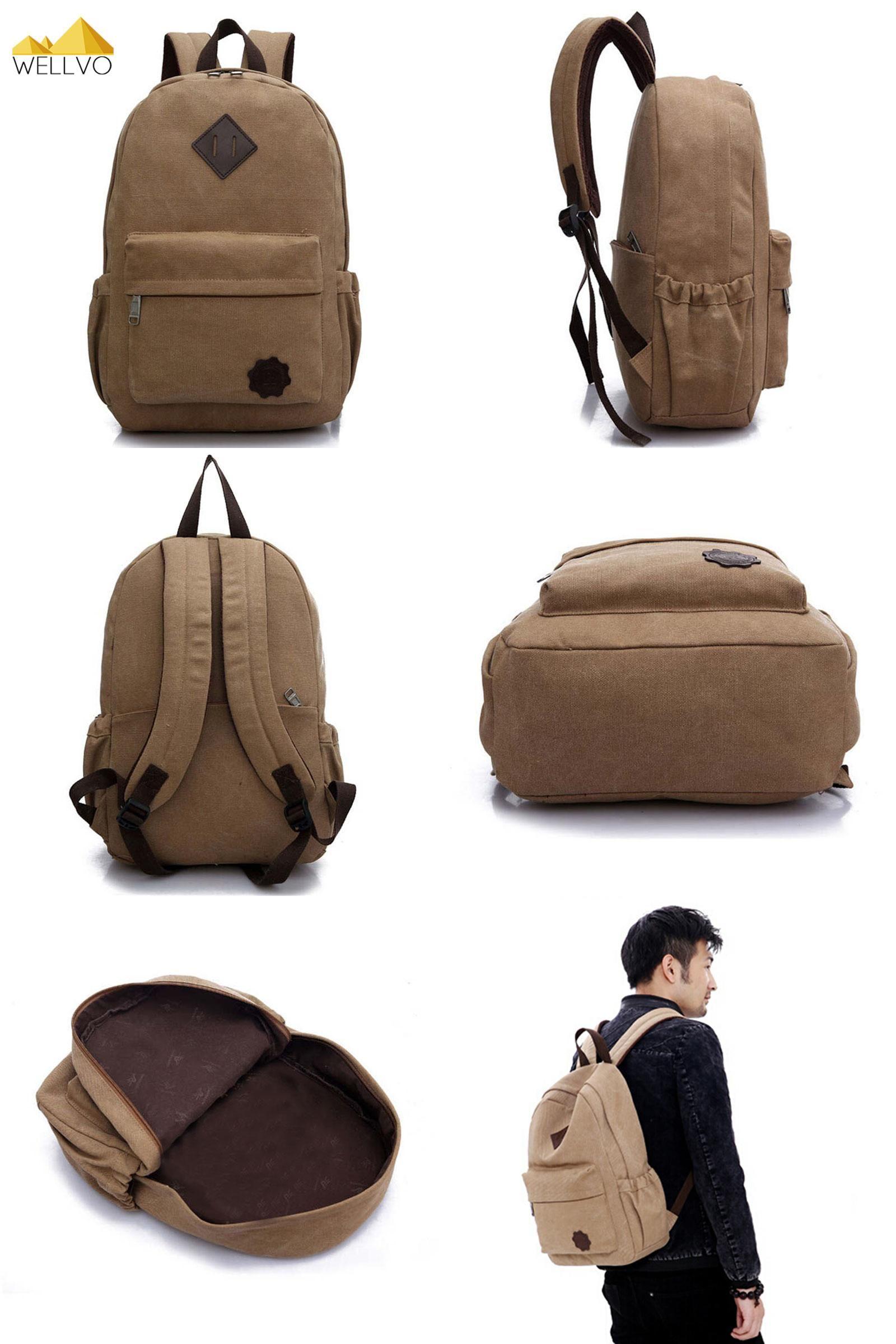 e7dda44cea  Visit to Buy  Men Canvas Backpack Teenage Boys Laptop Backpacks School Bag  Vintage Students