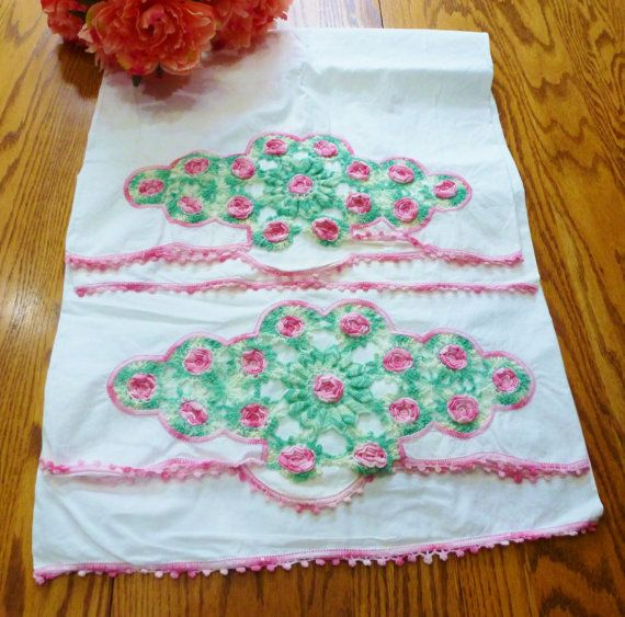 Vintage Pillowcases Bedding Pink and White Rose by vintagelady7
