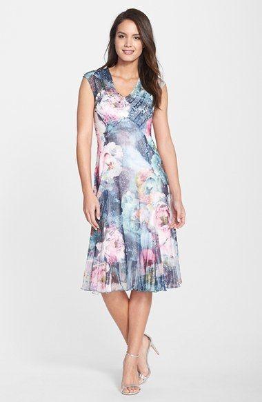 Komarov Print Chiffon   Charmeuse A-Line Dress  f3d3c7f57