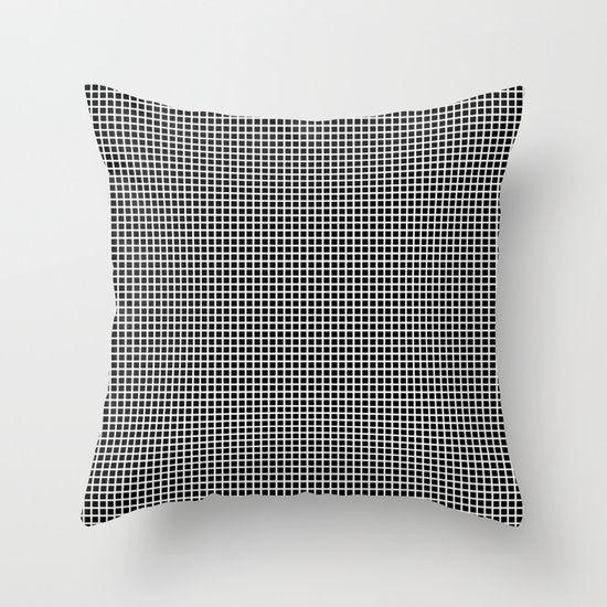 White On Black Grid - Pattern Throw Pillow