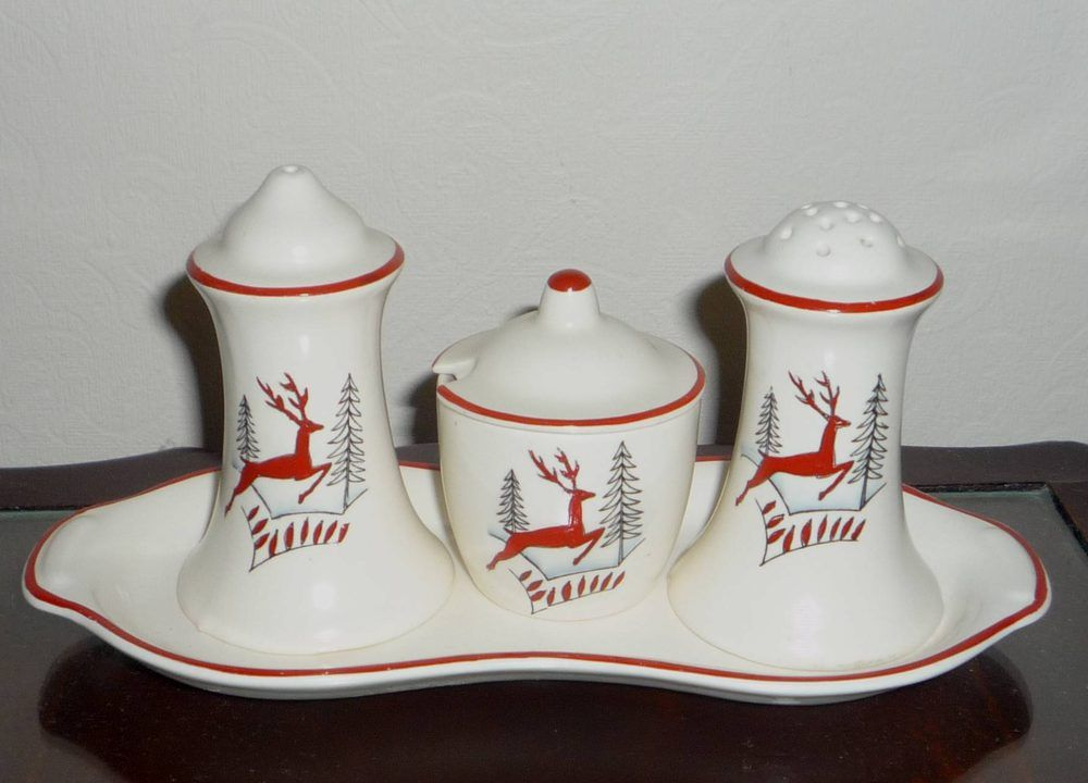 Crown Devon 'Stockholm' Pattern Cruet Set | The salt, pepper and mustard are perfect, although the tray has had a tiny chip on the under side professionally restored.| Sale Price GBP £60.00