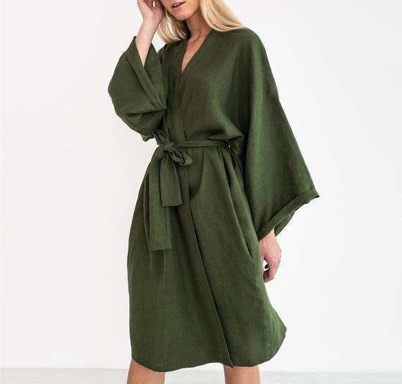 LUNA Oversized Linen Bridesmaid Robe / Kimono Wrap Dress -   17 wrap dress 2018 ideas