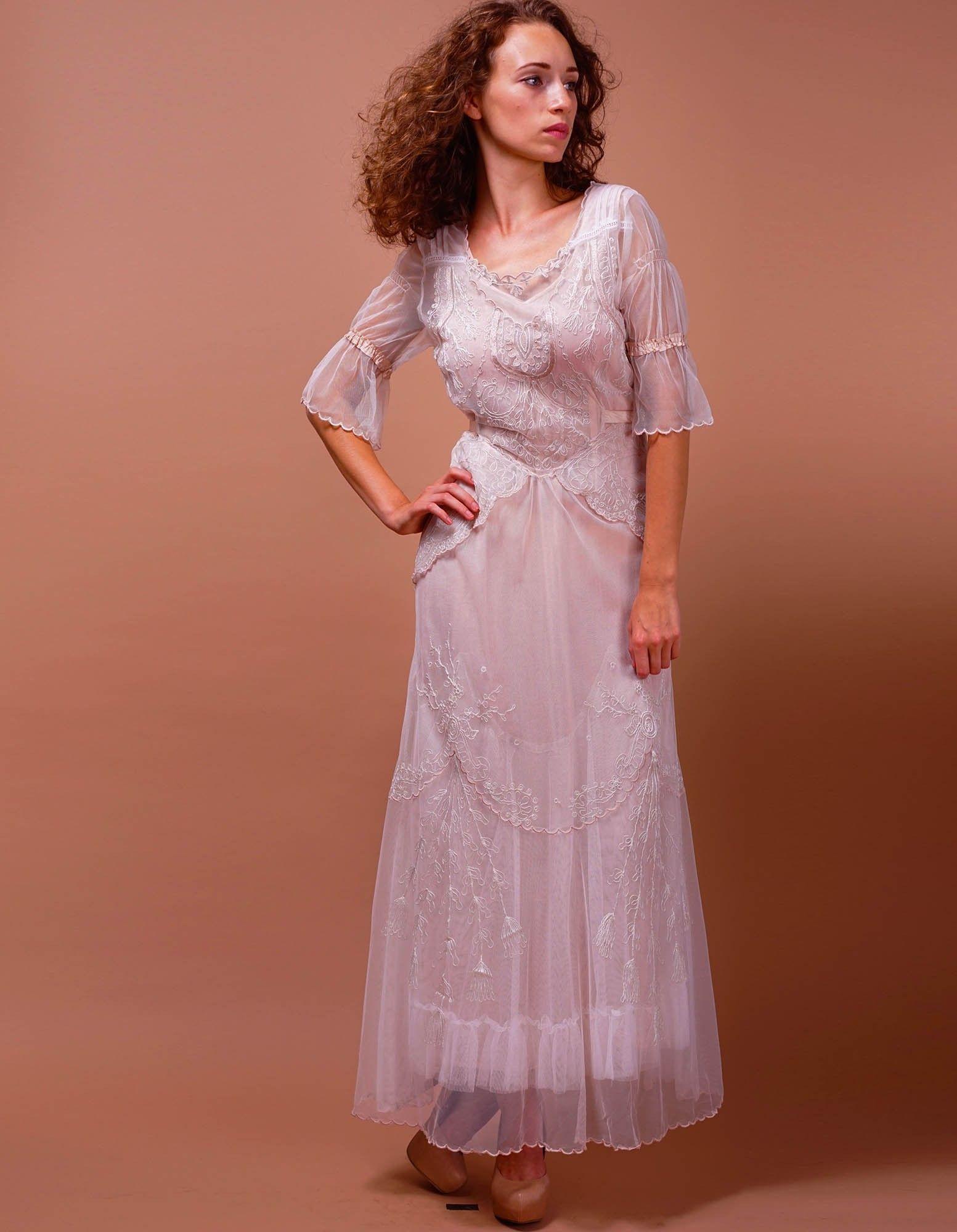 Edwardian Vintage Inspired Wedding Dress in Ivory/Blush by Nataya ...