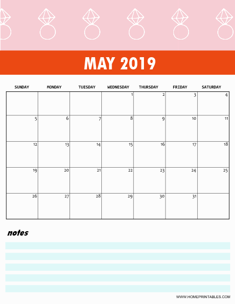 Free 2019 Monthly Calendar Printable Cute And Colorful Recipes To