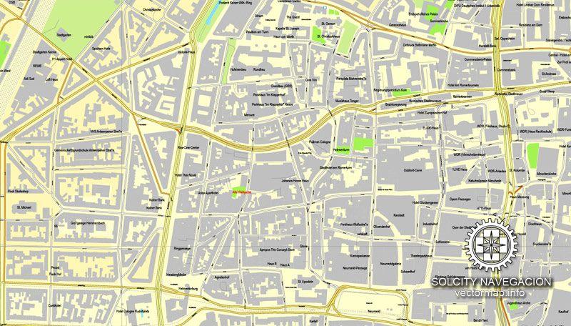 PDF Map Cologne Köln Germany Printable Vector Street City Plan - Map of koln germany