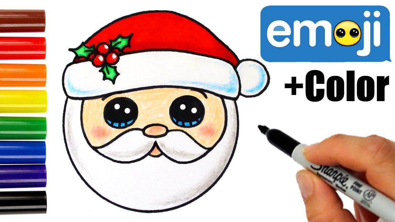 How to Draw Santa Head Emoji Super Easy YouTube How to