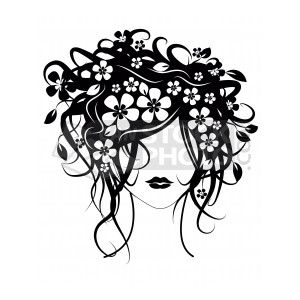Cosmetology Clip Art | Clipart of Beautiful girl with flowers in ...