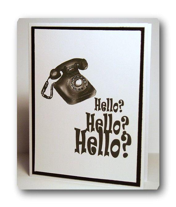 HELLO Retro phone CARD by ACreativeNeed on Etsy, $2.50