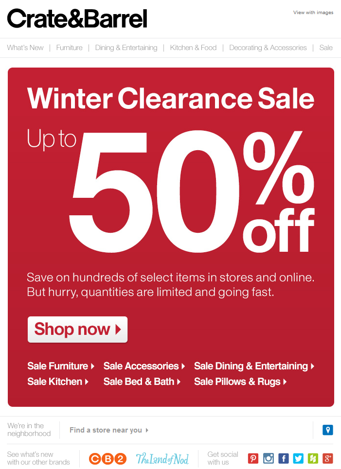 Crate Barrel Winter Clearance Up To 50 Off Clean Red Postcard Crate And Barrel Fast Shop Entertaining Kitchen