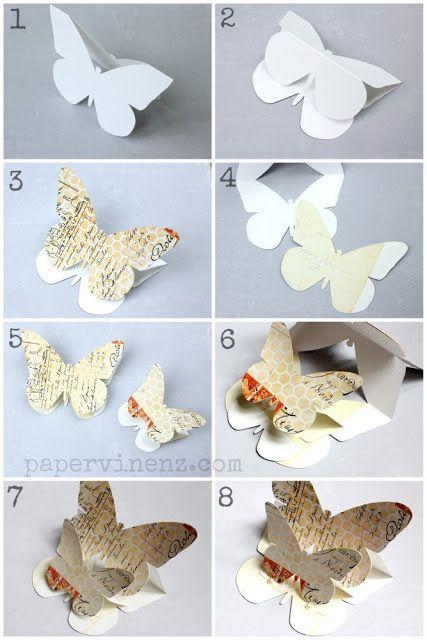 Tarjeta 3d Con Mariposas Indicaciones Y Plantillas Tutoriales