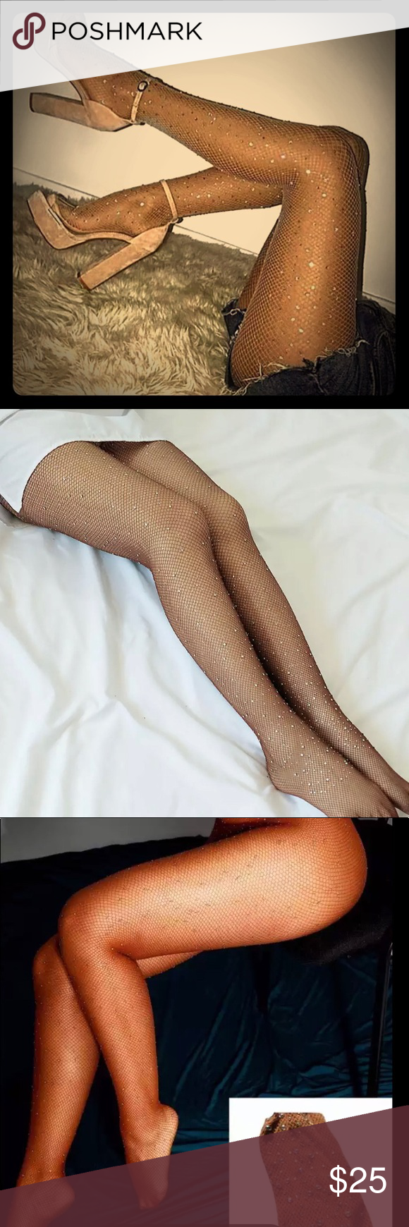Sold Caramel Shimmering Rhinestone Fishnets Fashion Clothes Design Nylons And Pantyhose