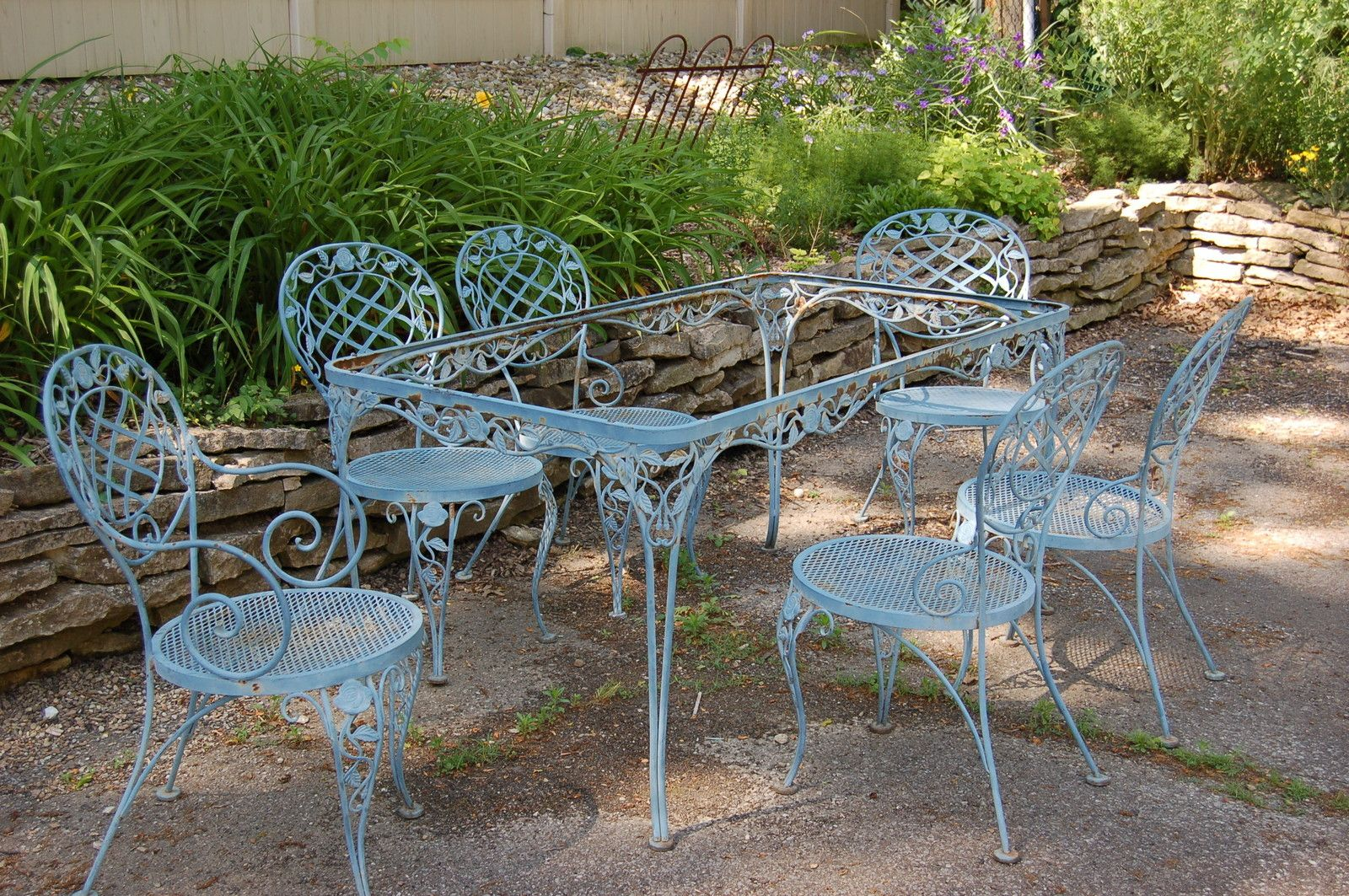 Woodard Chantilly Rose Rectangle Table 6 Chairs Offered