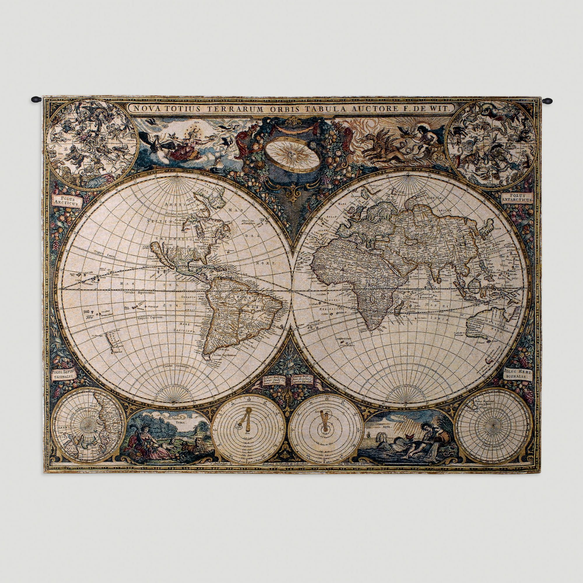 Old world map wall tapestry cotton 38w x 53l 35 lbs happy old world map wall tapestry gumiabroncs Gallery