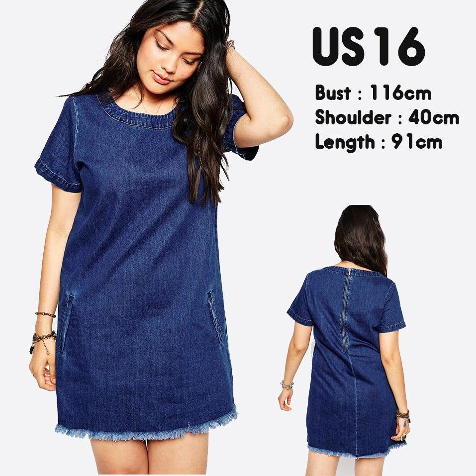 Stretch plus size denim dresses