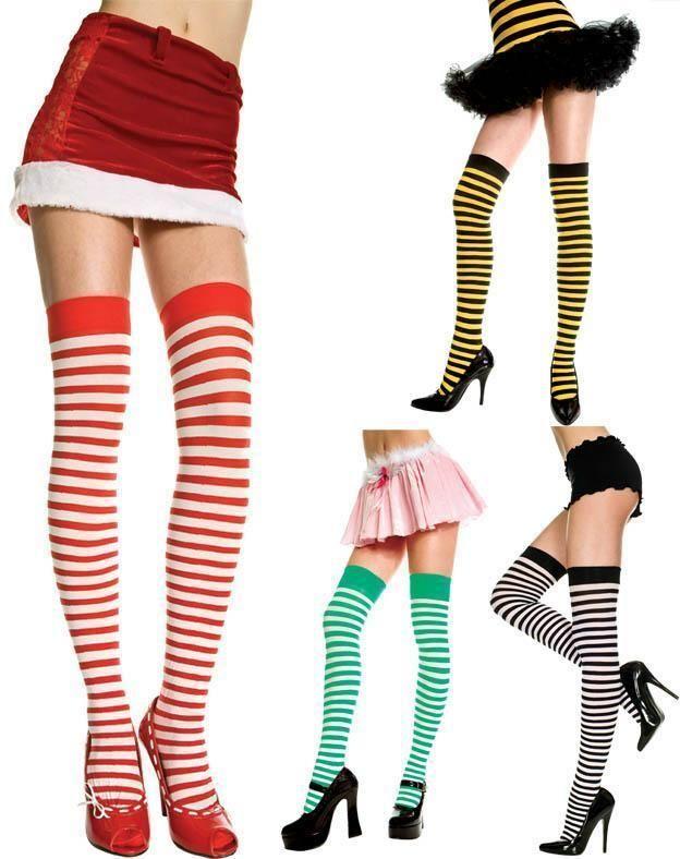 0b6bbfd29ca0c7 Music Legs Zebra Print Striped Thigh High Stockings Black Green Yellow Red  White