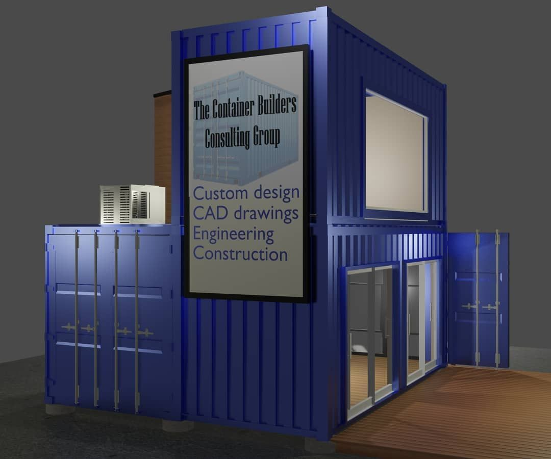 500 sqft 3 container design.  Shown here as an office, commercial / retail space.  Looking for advice on a container build?  Contact us today.  #shippingcontainer #offgrid #shippingcontainerhouse #shippingcontainerhome #designbuildconsulting #free #freeconsultation #diy #downsize #tinyliving #container #containerliving #tinyhome #adu #offgrid  #containeroffice #solar #containercabin #containercottage #cabin  #shippingcontainer #cottage  #thecontainerbuilders #livesmall #containerbar #pop-up #con