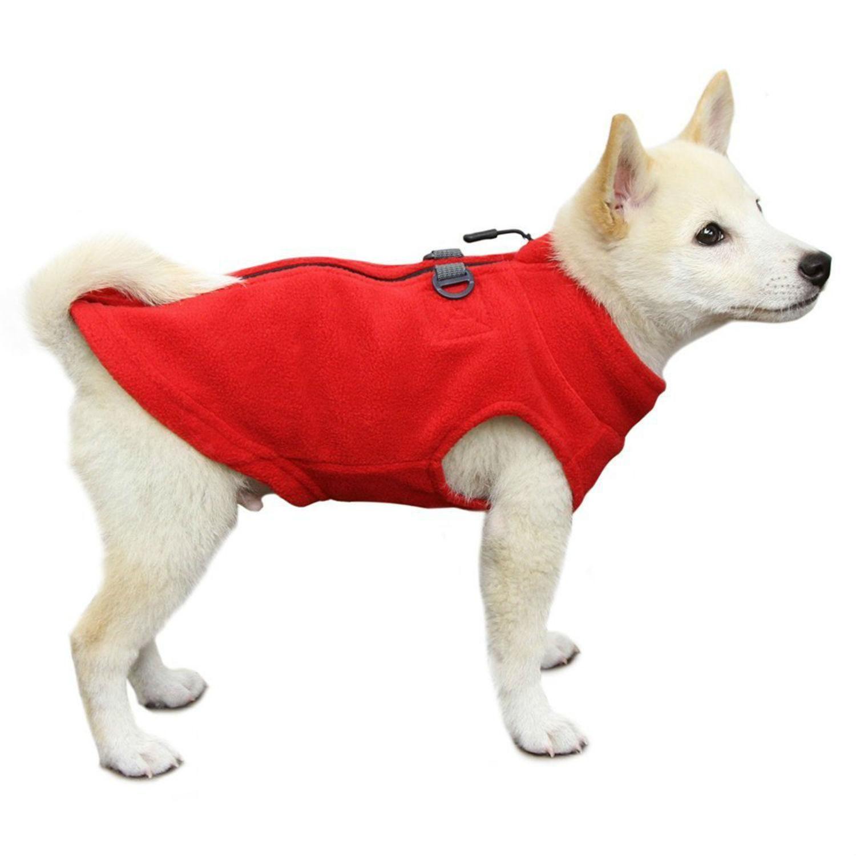 Gooby Zip Up Fleece Dog Vest Red Dog Vest Dogs Cold Weather Dogs