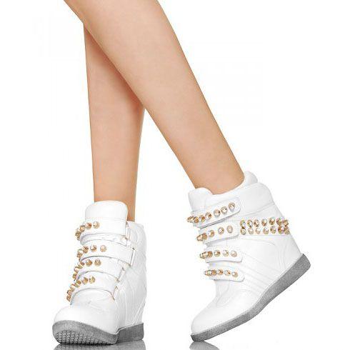 Zlote Cwieki Cyrkonie Biale Sneakersy High Top Sneakers Top Sneakers Shoes