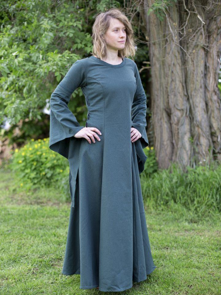 ritterladen | edles kleid mit trompetenärmeln grün
