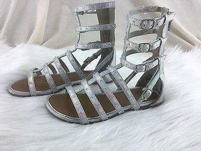 Girls' Sparkle Silver Gladiator Sandals by Justice Size 13