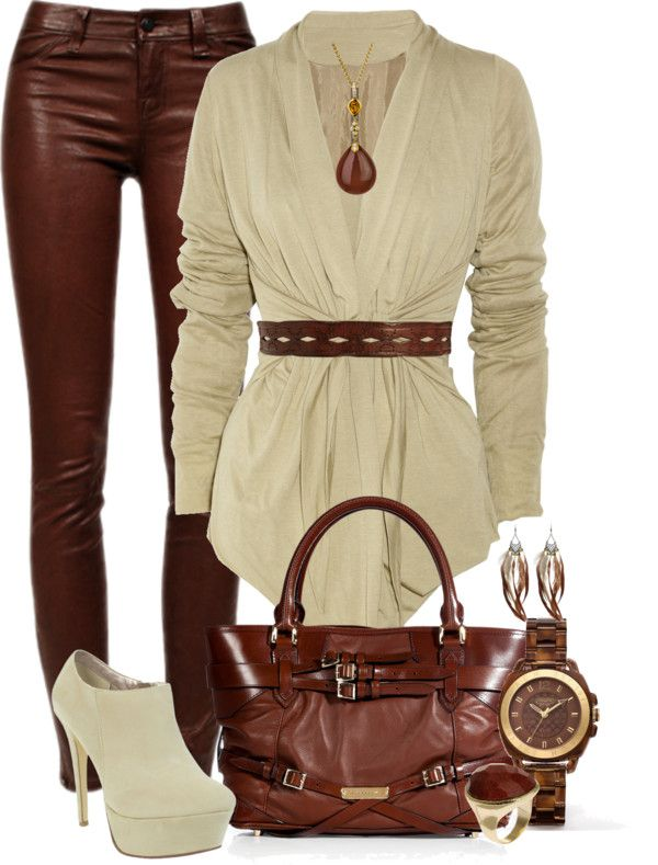 """Brown and Beige"" by fashion-766 on Polyvore"