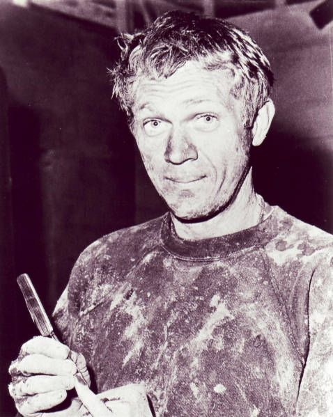 Steve McQueen on the set of The Great Escape