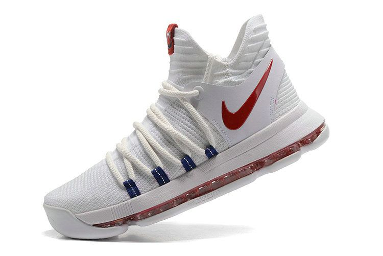 aa7a7b987f0f5a Legit Cheap New KD 10 X USA Home White Red Mens Basketball Shoes 2018 On  Sale