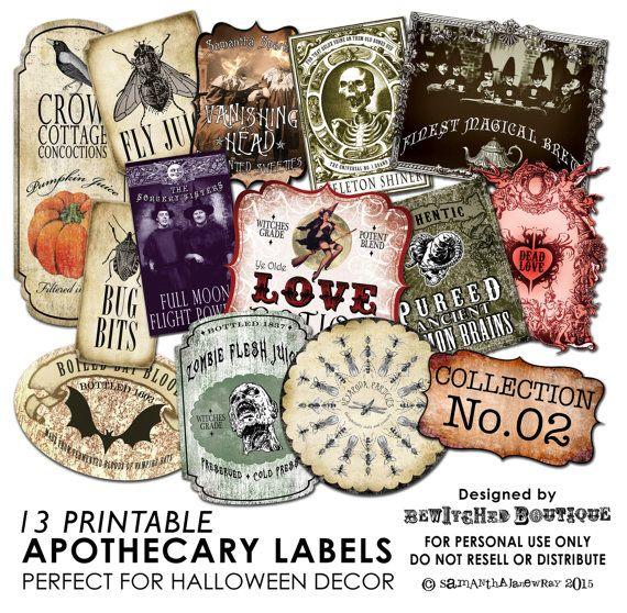 13 Printable Apothecary Labels - COLLECTION 2  * Create your own spooky decorative Potion Bottles * Make labels for Trick or Treat bags *