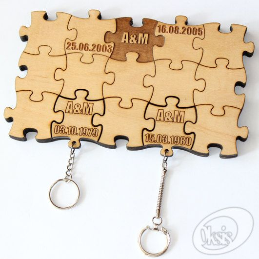 "Personalized Wall Key Holder, Wall Key Holder ""Puzzles"