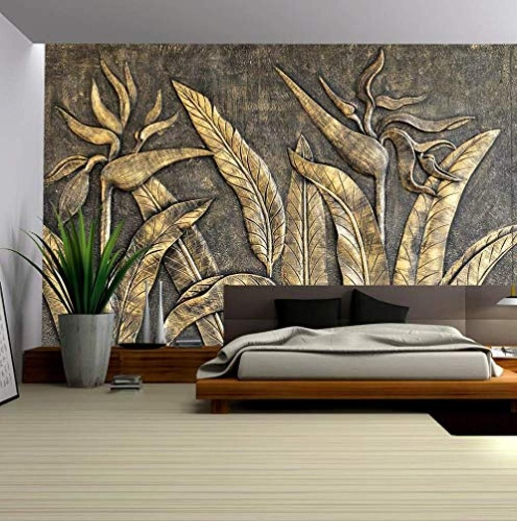 Murwall 3d Embossed Wallpaper Gold Sculpture Wall Mural Paradise Custom Photo Wallpaper Wall Murals Mural Wallpaper