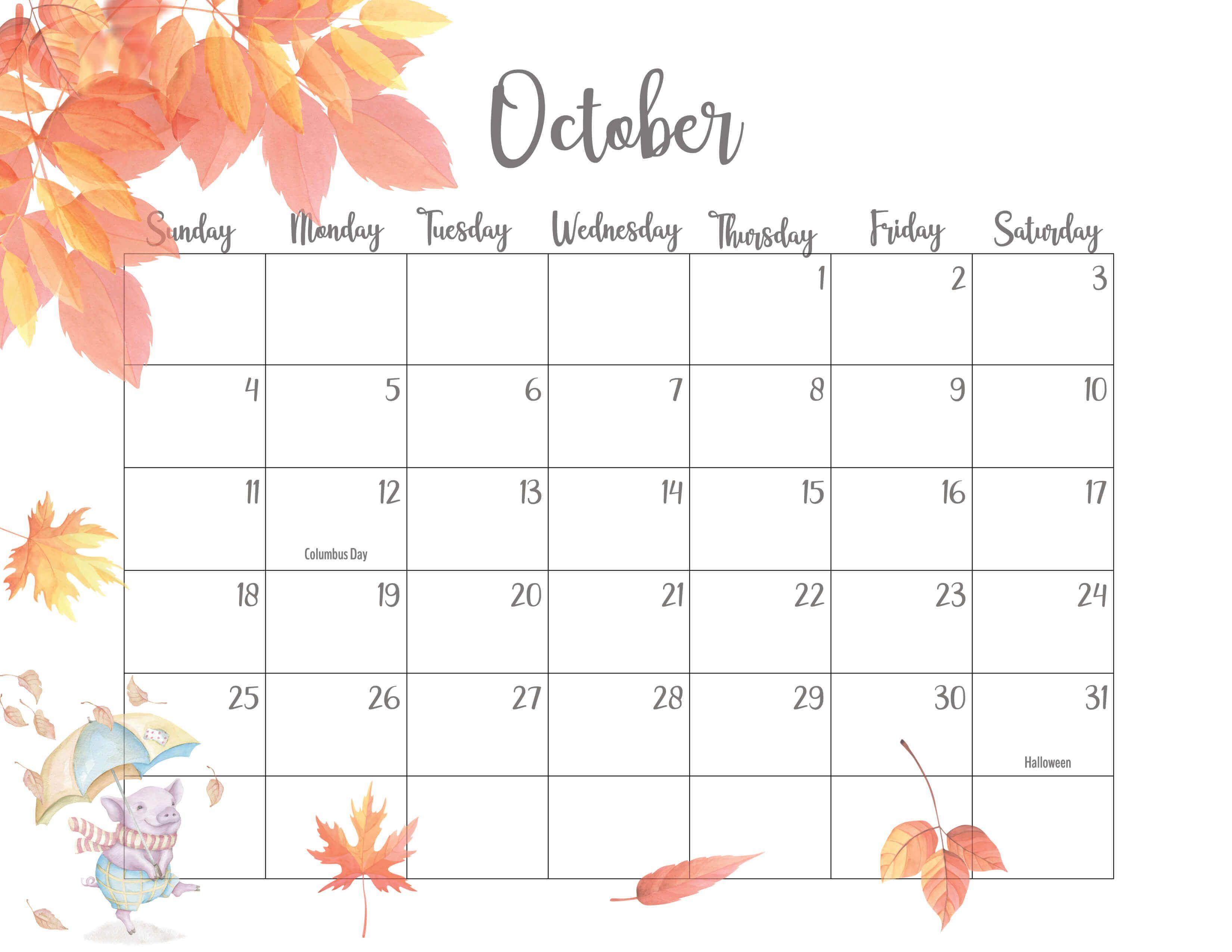 October 2020 Calendar Cute in 2020 | Calendar printables ...